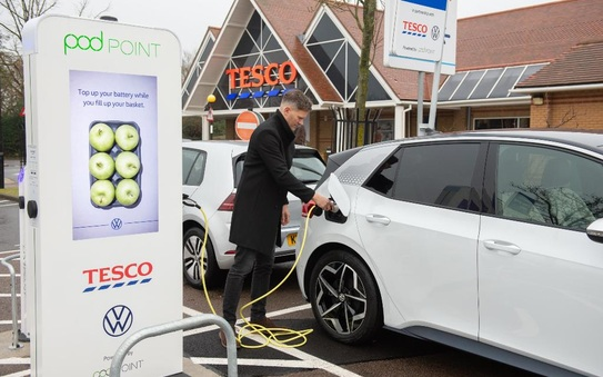 Volkswagen and Tesco free EV charging network amps up, as over 100 stores rolled out