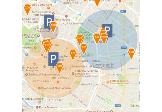 MCT Screenshot – Parking zones in Milan